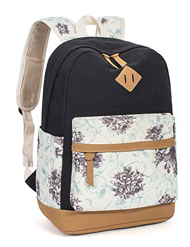 Leaper Floral School Backpack College Bookbags Shoulder Bag Satchel Black