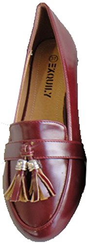 Bordeaux Tacco Scarpe cedric Mocassino Lucida Piatto Ghiande Donna Nappa Pierre Cwy4Ozxqw5