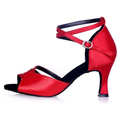 Raso Personalizzato con Elobaby on Peep 7 Ballo Scarpe da Plateau Donna Prom Heel in Slip Toe 5cm Red Sandali da RqvRw0