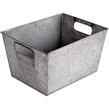 Pack of 5 - Better Homes and Gardens Small Galvanized Bin, Silver