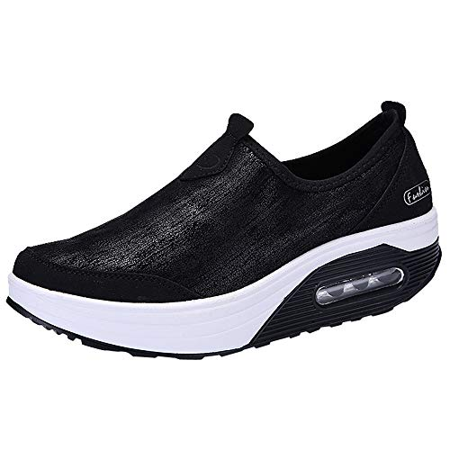 ANOKA Women Sneakers Sale Outdoor Mesh Casual Sports Shoes Thick-Soled Air Cushion Shoes Sneakers Black Size 7.5