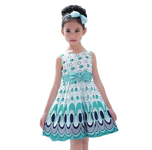 Morecome Kids Bow Belt Sleeveless Peacock Dress Girls Party Dress (3-4Years, Blue) (Adult Peacock Tutu)