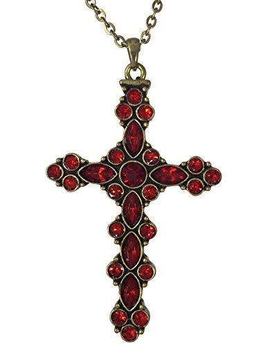 Long Christian Cross Rhinestone Necklace (Red - Gold (Western Cross Pendants)
