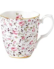 Royal Albert Rose Confetti Vintage Mug, 1 Count (Pack of 1), Mostly White with Multicolored Print