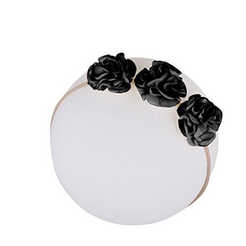 Flower Power Floral Wreath on Nylon Headbands - For Newborn and Babies By Zelda Matilda (Nylon Headband Black)