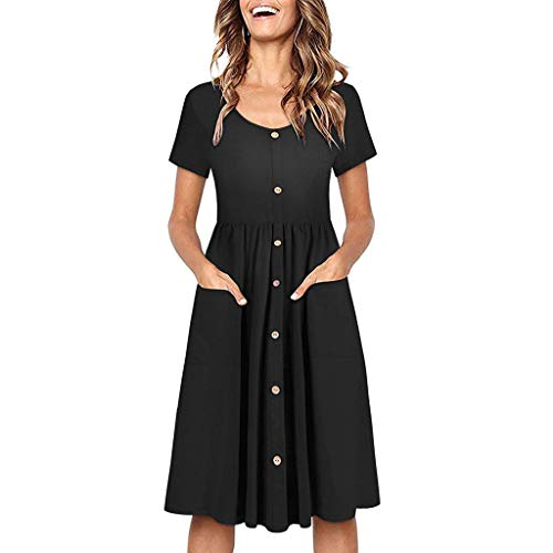 Aunimeifly Women's Solid Color Short-Sleeve Button-Down Long Dress Round Neck Pocket Frilled Beach Swing Dress Black