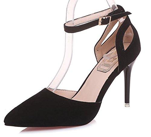 Ein Knöchelriemchen Nubuleder Elegant Schuhe bißchen Damen Schwarz 2018 XawrxzqX
