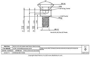 Allied Titanium 0032638, Inc #4-40 X 3//16 UNC Socket Head Titanium Machine Screw Grade 2 CP Pack of 25 609769001