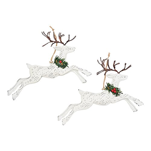 GALLERIE II Pressed Tin Leaping Deer Christmas Xmas Ornament A/2
