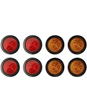 """PEAKTOW PTL0283 Round LED 2.5"""" Submersible Clearance Marker Lights With Grommets and Plugs 8PK (4pcs Amber + 4pcs Red)"""