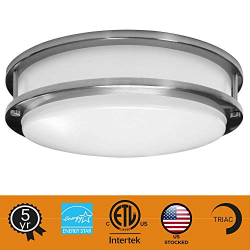 """Zip-LED 10"""" Surface Mounted LED Light Fixture for Ceiling or Wall in Brushed Nickel, 14W 4000K Natural White 1239 Lumen, TRIAC Dimmable, Dry Location IP20"""