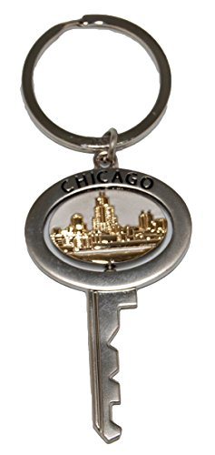 (Chicago Souvenir Metal Replica Key Keychain Featuring the Famous Chicago Skyline That Spins)