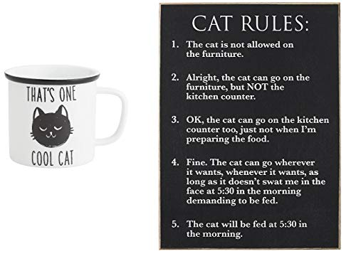 - Collins Painting - Cat Rules Bundle - That's One Cool Cat 21 Oz Camp Mug and Cat Rules Wood Wall Sign