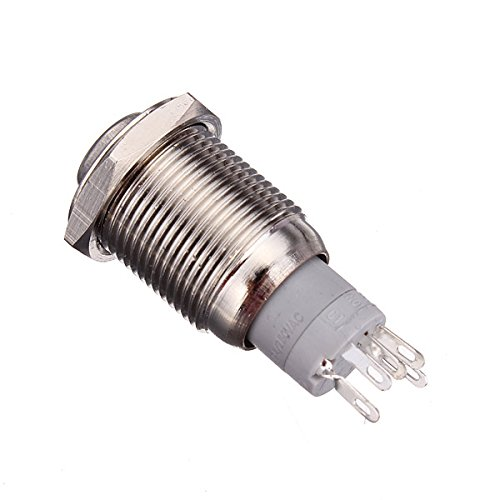 16mm Round Ring Illuminated Latching Self Lock Metal Push Button Light Switch ILS