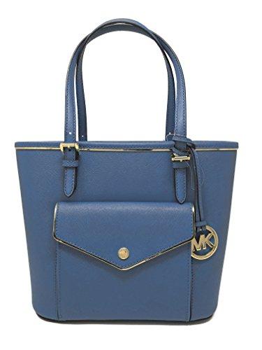 MICHAEL Michael Kors Specchio Leather Snap Pocket Tote (Steel Blue) by Michael Kors
