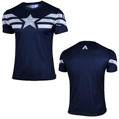 Mens T-Shirt Short Sleeve Compression Top Superhero Muscle Captain America Navy Blue (L)