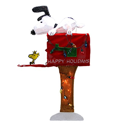 - ProductWorks Pre-Lit Peanuts Snoopy with Red Mailbox Animated Christmas Yard Art Decoration and Clear Lights, 36