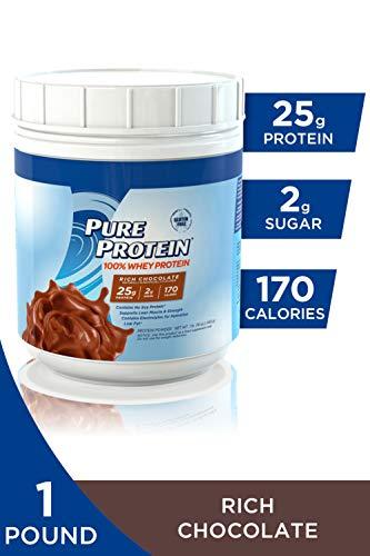 Pure Protein Powder, Whey, High Protein, Low Sugar, Gluten Free, Rich Chocolate, 1 lb