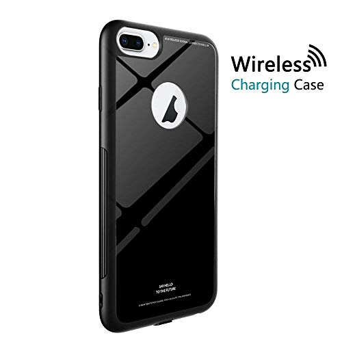 ORDA Wireless Charging Receiver Phone Case Compatible for iPhone 7 Plus/6S Plus/6 Plus Soft TPU Bumper Frame with Tempered Glass Back Cover Full Body Strong Protection (5.5) (Black) by ORDA