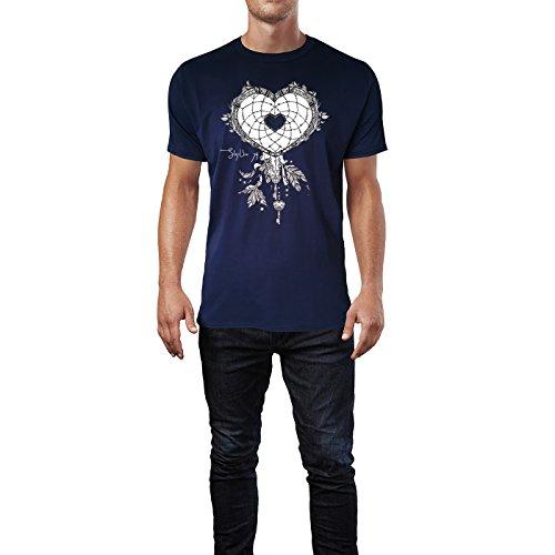 SINUS ART ® Herzförmiger Traumfänger mit Federn Herren T-Shirts in Navy Blau Fun Shirt mit tollen Aufdruck