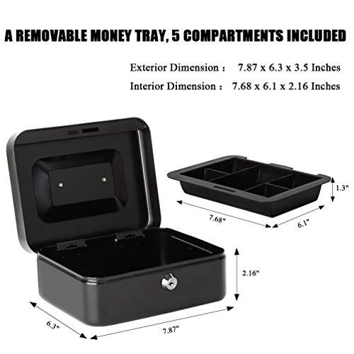 39a6020c4357 Jssmst Locking Large Steel Cash Box with Money Tray,Lock - Import It All