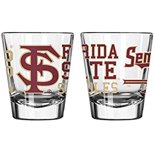 Official Fan Shop Authentic NCAA Logo 2 oz. Shot Glasses 2-Pack Bundle. Show Your School and Team Pride at Home, Your Bar or at The Tailgate. (Florida State Seminoles - Spirit Shot)