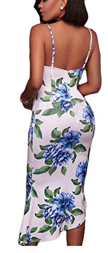 Sexy Spaghetti Picture Women Print Bodycon Strap As Neck Dresses Deep Jaycargogo Irregular V Floral q054O