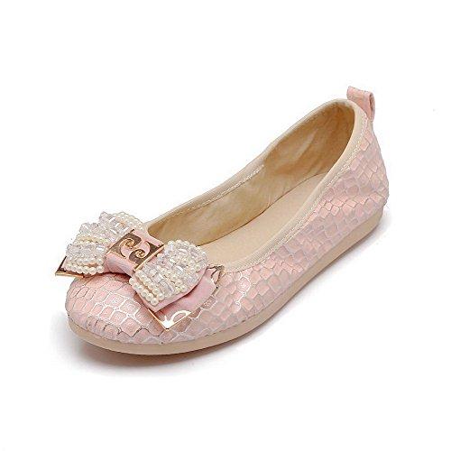 VogueZone009 Damen Rein PU Leder Ohne Absatz Rund Zehe Ziehen auf Flache Schuhe Pink