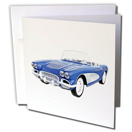3dRose Boehm Graphics Car - 1961 Blue Convertible - 1 Greeting Card with Envelope (gc_268008_5) ()