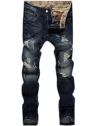 Men's Straight Leg Slimming Fit Distressed Loose Denim Jeans