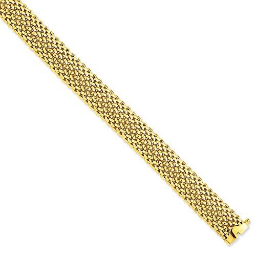 14 carats 7,25 pouces Bracelet poli 12,5 mm-Maille-JewelryWeb FERMOIR -