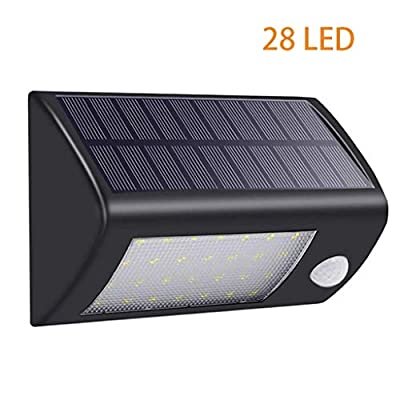 Carl Artbay Solar Lights Outdoor Motion Sensor, Waterproof Solar Energy Powered Security Light 28 LED Bright White Light Lamp for Outside Wall Garden Fence Gate Walkway Path