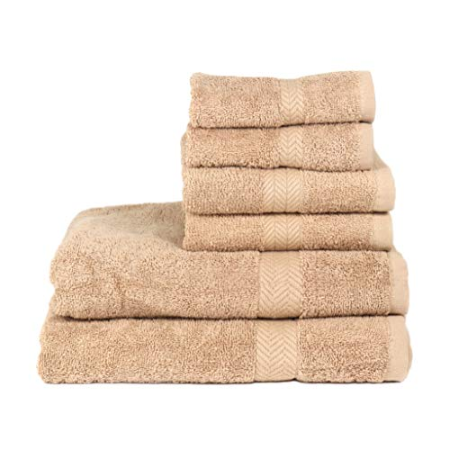 - Arkwright Chelsea 100% Cotton 6-Piece Towel Set | Premium Towels with Chevron Dobby | 2 Bath, 2 Hand, 2 Wash (Tan)