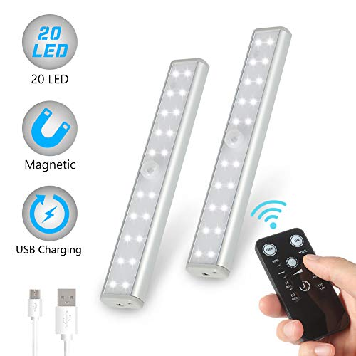 LUNSY Rechargeable Closet Lights 20LED, Stick-On Anywhere Portable Under Cabinet Lighting with Remote control, Wireless Magnet Bar for Closet, Cabinet, Kitchen, Wardrobe, Garage(Silver) - 2Pack (Control Instant Off Wall)