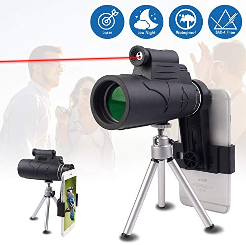 Monocular Telescope 40x60 with Laser Pointer and Flashlight by MerryHub- Low Night Vision BAK4 FMC Prism for Smartphone with Tripod for Bird Watching, Camping, Travelling and Hunting
