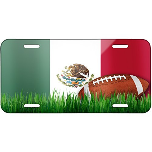 Football with Flag Mexican Metal License Plate 6X12 Inch by Saniwa