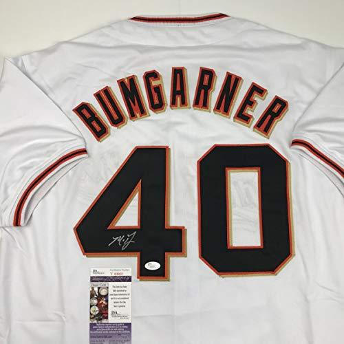Autographed/Signed Madison Bumgarner San Francisco White Baseball Jersey JSA COA