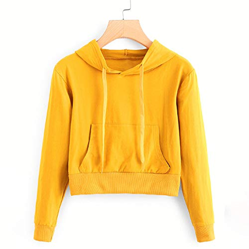 Tops Pocket Sleeve Hooded Round Long Blouse Morwind Solid Sweatshirt Womens Color Yellow Neck nPwB1