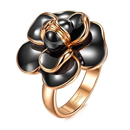 AllenCOCO Rose Flower Ring for Women 18K Gold Plated Black Or White Enamel Ring(5) ()