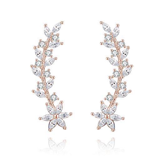 - Ear Crawler Earrings Ear Climber - 14k Gold Plated 925 Sterling Silver Flower Ear Cuff Wedding Earrings (Rose Gold)