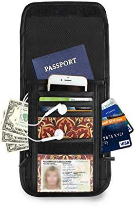曼荼羅 パスポートホルダー セキュリティケース パスポートケース スキミング防止 首下げ トラベルポーチ ネックホルダー 貴重品入れ カードバッグ スマホ 多機能収納ポケット 防水 軽量 海外旅行 出張 ビジネス
