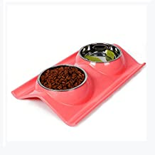 Double Dog Bowls With No Spill Non Skid Resin Mat especially for little dogs and cats, Stainless Steel Dog Bowl with Premium Elevated (red)