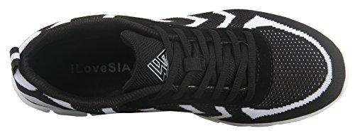 Baskets Pour Hommes Chaussures Confort De Marche Ilovesia Noir Courir Blanc Léger xPZ0HF