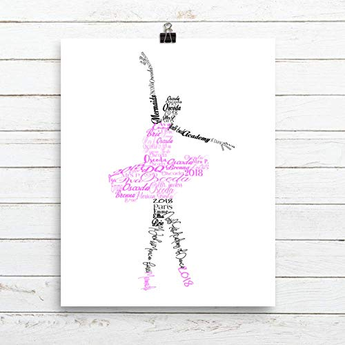Personalized Name Prints - Ballerina Personalized Name Print, Dance Decor, Dance Art, Framed Print or Canvas