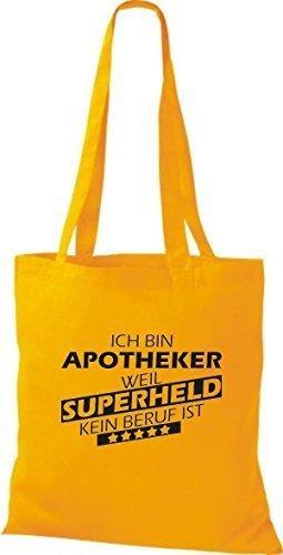 Shirtstown Stoffbeutel Ich bin Apotheker, weil Superheld kein Beruf ist goldgelb