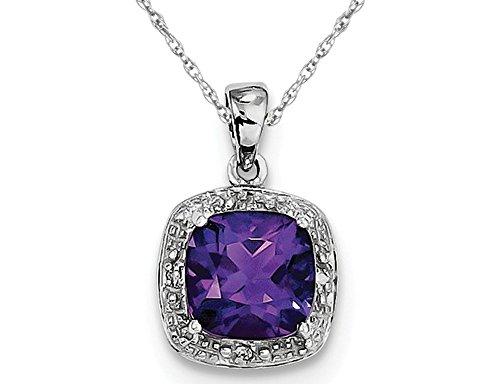 Necklace Cut Amethyst - Cushion Cut Purple Amethyst Pendant Necklace in Sterling Silver 1.80 Carat (ctw)