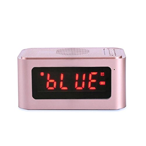 Liu Nian Wireless Outdoor Bluetooth Speaker water Resistant,Beach, Shower & Home Mini Wireless Super Bass Speaker TF Card Audio Alarm Clock (Pink)