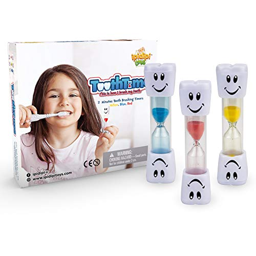3 Minute Sand Timer Hourglass - 2 Minute Timers for Brushing Teeth (3-Pack) Fun, Colorful Hourglass Sand Counter | Easy to Use for Kids Boys & Girls | Promotes Proper Dental