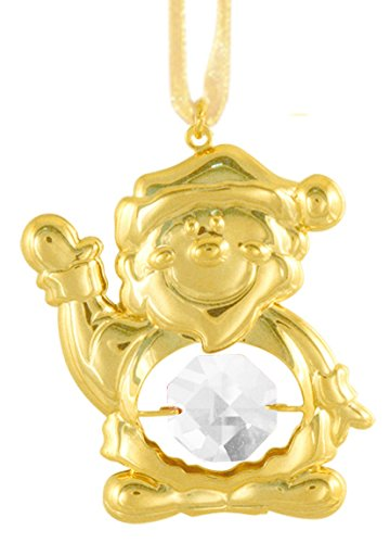 24K Gold Plated Santa Claus Ornament with Clear Swarovski Crystal Element