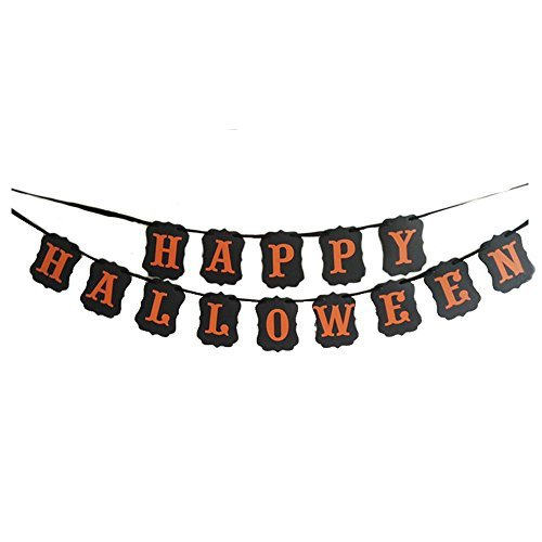 MAGQOO Black Happy Halloween Banner Halloween Decorations Door Cover Garden Decorations]()